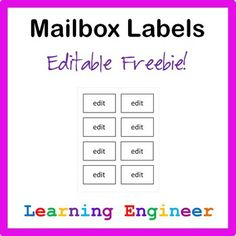 "Here is a simple editable mailbox label you can use with my mailbox system.  To find out how these name tags work in my mailboxes see my blog post ""One Way To Set Up Classroom Mailboxes…"""