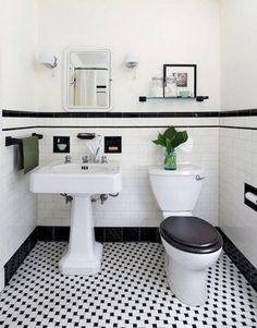 142 Marvelous Farmhouse Bathroom Tile Floor Decor Ideas and Remodel to Inspire Your Bathroom - Page 116 of 145 1920s Bathroom, Vintage Bathrooms, Bathroom Interior, Small Bathroom, Glass Bathroom, Bad Inspiration, Bathroom Inspiration, Black And White Tiles Bathroom, Black Bathrooms