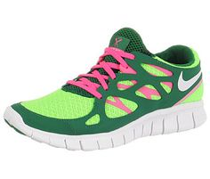 What? Pink and green Nike running shoe