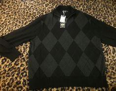 NEW Daniel Cremieux Lafayette Argyle Mens Knit Silk Sweater Zip Black Gray XL #DanielCremieux #12Zip