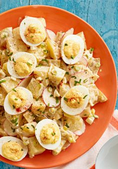 Deviled Egg Potato Salad — We've taken two potluck and picnic favorites deviled eggs and potato salad and made one creamy, flavorful salad that's sure to please the crowd.