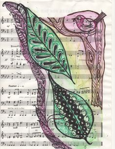 Watercolour Leaves and Bird