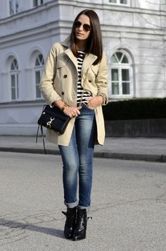 Nautical stripes with jeans and a trench. Classic..