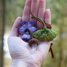Camille Billaud - Sleeping Woods ( This is several macrame creations made by me - pansies - ginkgo leaf - acorn----------------------------------------------------------------------------------- Macrame Rings, Macrame Jewelry, Knot Braid, Necklace Storage, Micro Macramé, Macrame Tutorial, Leaf Flowers, Macrame Patterns, Pansies