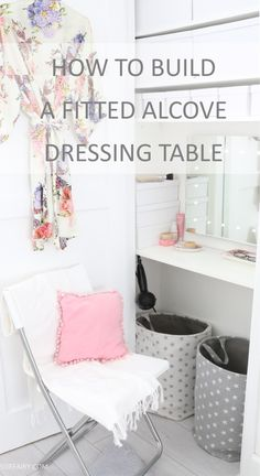 When space is tight and you don& have room for a dressing table in your bedroom, how about turning an alcove or cupboard into a built-in vanity space? Here& how my finished fitted dressing table turned out. Girls Bedroom, Built In Dressing Table, Built In Vanity, Bedroom Alcove, Built In Cupboards, Bedroom Decor, Cute Bedroom Ideas, Alcove Ideas Living Room, Diy Dressing Tables