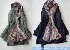 green black cream coat winter thick coat warm coat women cotton clothing women coat long sleeve coat jacket outerwear dress (99.00 USD) by FashionalClothing