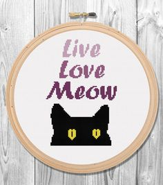 Live Love Meow Cross Stitch Pattern for Instant Download