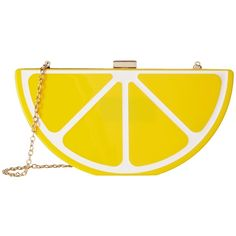Jessica McClintock Lemon Clutch (Lucite) found on Polyvore featuring bags, handbags, clutches, jessica mcclintock, handbags purses, strap purse, yellow handbag and hand bags