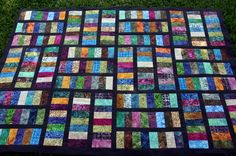 """Batik quilt top I made this week! Love this version of the """"Stacked Coins"""" pattern!"""