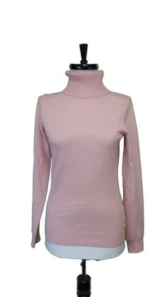 Uniqlo Cashmere Sweater Light Pink Turtleneck Pullover Long Sleeves Womens XS  #Uniqlo #Turtleneck
