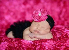 Hot Pink Floral Lace Headband Perfect for by BabyCarSeatCovers, $15.00