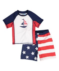 Red & Blue Sailboat Rashgaurd Set - Infant Toddler & Boys