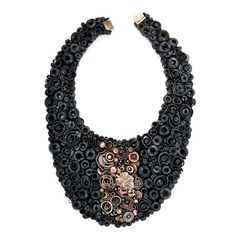 Necklace | Doron Taubenfeld.  Recycled bicycle inner tubes, other recycled rubber and recycled metal.