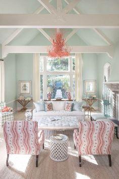aqua coral coastal living room | Massucco Warner Miller Interior Design