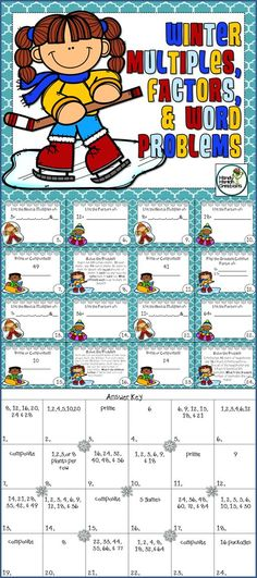 Elementary Task Card Scoot Winter theme multiples, factors, prime, composite, & word problems for math review fun!