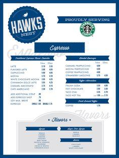 Retro-inspired espresso menu! #blue #white #restaurant #menu #graphic #design