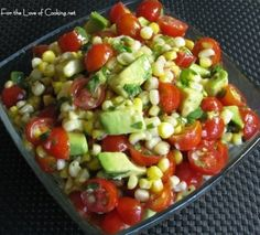 Avacado, corn, and tomato salad with honey lime dressing - definitely going to serve this with summer BBQ