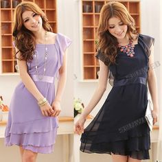 2013 Casual Fashion Women's Multi layer Elegant Flouncing Sleeveless Chiffon Dress With Lining free shipping 10150-in Dresses from Apparel  Accessories on Aliexpress.com $10.43
