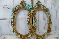 Rusty aqua frame grouping distressed shabby by AnitaSperoDesign