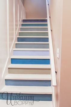 "BASEMENT Colorful painted staircase idea  USE OUR ""EXTRA PAINT COLORS"" WE ALREADY HAVE."