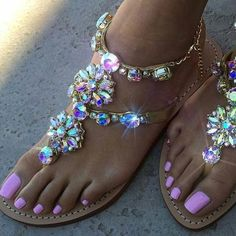 Rhinestones Chains Thong Gladiator Flat Sandals Crystal Chaussure (Multiple Sizes)