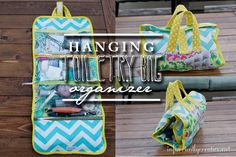 Hanging Toiletry Bag tutorial {sewing tutorial} from Infarrantly Creative. My sister has all her toiletries & make up in one of these and it hangs on the back of the bathroom door, no counter clutter!!!