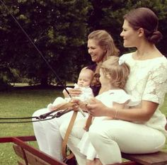 Sisters Crown Princess Victoria and Princess Madeleine and their daughters, Princess Estelle and Princess Leonore