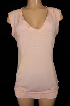 LULULEMON V Neck Tunic Top 6 S Small Peach Silverescent Drawstring Hem Raw Edge #Lululemon #ShirtsTops
