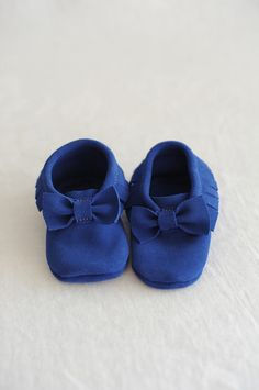 Bow Suede Baby Moccasins- Azul