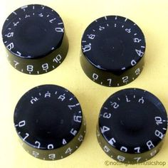 4 LES PAUL ELECTRIC GUITAR SPEED KNOBS BLACK