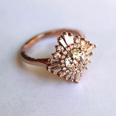 Stunning Diamond White/Rose/Yellow Gold Ring - Art Deco, Great Gatsby, custom made, engagement/special occasion, cocktail