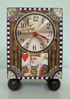 King of Hearts Clock (handcrafted, hand embellished, mixed media). Barbara Edidin.