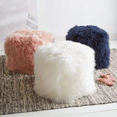 Blush, white and navy Mongolian lamb poufs from West Elm. West Elm, Puff Gigante, Girls Bedroom, Bedroom Decor, Old Chairs, Desk Chairs, Lounge Chairs, Dining Chairs, Folding Chairs