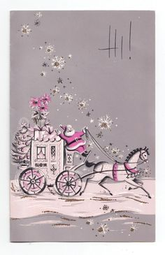 UNUSED Vintage Greeting Card Christmas PINK Santa Claus Carriage Mid-Century