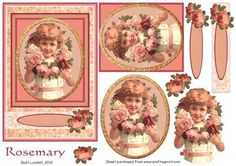 Rosemary on Craftsuprint designed by Bodil Lundahl - A beautiful 3D gold framed Victorian girl with a wreath of roses, on rose backing. Including two roses on a a lace border and a tag for your greetings. For a very feminine and sweet card to a lot of occasions to girls and women. - Now available for download!