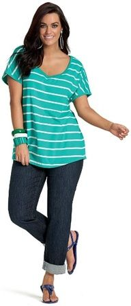 MARINER STRIPED TEE - Short Sleeved - My Size, Plus Sized Womens Fashion  Clothing