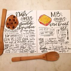 Hand lettered RECIPE / family heirloom / watercolor / modern calligraphy
