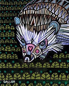 SALE ENDS Today Hedgehog Folk Art Poster Print Of Painting By Heather Galler HG513