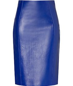 blue leather skirt