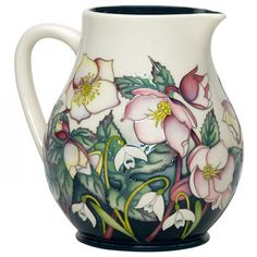 Pink buds open to creamy white flowers suffused with warm rose and cinnamon around this deco-shaped jug: a Moorcroft floral masterpiece within the Fair Maids of February Collection launched at Hodsock Hall. Glass Ceramic, Ceramic Pottery, Pottery Art, Porcelain Dinnerware, Porcelain Ceramics, Pottery Painting, Ceramic Painting, Fine Porcelain, Painted Porcelain