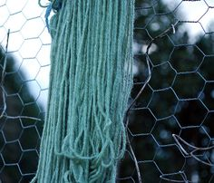 Yarn dyed with Black Beans... it's green because well water was used (more acidic), with other water it usually is blue.