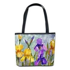 Bearded Iris Bucket Bag    This decorative watercolor painting pictures violet purple & yellow bearded iris flowers in a garden. The modern floral art is by designer Miriam Schulman.  $72.00 This stylish microfiber tote bag is cute & unique. Each comes with your choice of personalized designs so you're sure to stand out. Perfect for all occasions, the bucket bag is an ideal womens shoulder bag or hand bag.