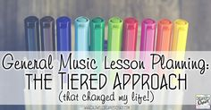 General Music Lesson Planning: The Tiered Approach That Changed My Life. Organized Chaos. Explains each step of her very thorough and thoughtful lesson planning system for general music. The great thing is you can set it and forget it- once it's set up, lesson planning is fast and easy each week! Includes scope and sequence, year-long long range plans for each grade, monthly lesson overviews, and weekly planning.