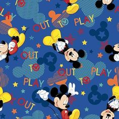 By the Yard Disney Mickey Out To Play Toss Cotton Fabric by Springs Creative op Etsy, €