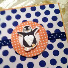 Polka dot penguin party invite