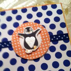 Polka dot penguin party invite