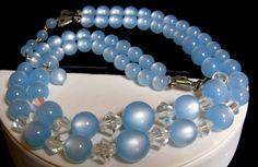 Vintage Baby Blue Moonglow Swarovski Crystal Bi-Cone Double Strand Bead Necklace #UnsignedBeauty #VintageDoubleStrandAdjLengthBeadedNecklace