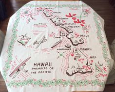 Vintage Souvenir Tablecloth 1950's Hawaii by unclebunkstrunk