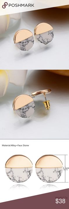 Gold and Stone Oval Earrings Beautiful gold tone and marble pattern stud earrings. About the size of a dime. Perfect for dressing up or down! Jewelry Earrings