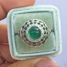 Emerald Cabochon and Diamond Fancy Ring by David Morris Contemporary Engagement Rings, Emerald Rings, A Boutique, Class Ring, David, Fancy, Jewels, Diamond, Antiques